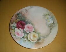 "Antique T & V France Limoges Hand Painted 9 3/8"" Plate Roses C 1907"