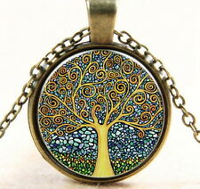 Tree of Life Cabochon Bronze Glass Chain Pendant Necklace Jewelry USA Ship New