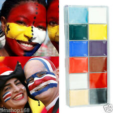 12 Colors Make Up Face Paint Palette Fun Halloween Cosmetics Fancy Painting Kit