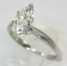 Diamond engagement ring 14K white gold marquise brilliant solitaire 1.00CT sz 6