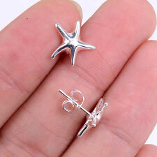 Solid 925 Sterling Silver Cute Starfish Stud Post Earrings with 925 stamp H464