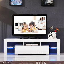 High Gloss White TV Stand Unit Cabinet w/LED Shelves 2 Drawers Console Furniture