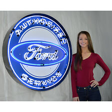"""Huge 36"""" Neon Sign in Metal can  steel Neon sign  Authorized Ford Oval service"""