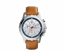 NWT Fossil Men's Chronograph Dean Tan Leather Strap Watch 45mm FS5069