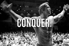 CONQUER. Arnold Schwarzenegger Bodybuilding Motivational Poster For Gym Decor 14