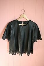 JCrew Collection Laser-Cut Leather Top 00 XS XXS Black NWT $550