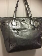 Coach 34039 Large Mickie Silver Pewter Pebbled Leather Tote Handbag