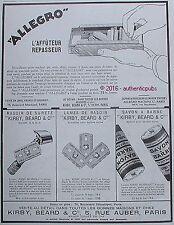 PUBLICITE ALLEGRO LAME DE RASOIR AFFUTEUR REPASSEUR SAVON DE 1928 FRENCH AD PUB