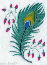 PEACOCK FEATHER SET OF 2 BATH HAND TOWELS EMBROIDERED BY LAURA