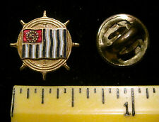 Vintage Nautical Anchor Stripe Flag Ships Wheel Lapel or Hat Pin, Boating, Yacht