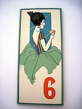 Vintage Art Deco Bridge Score Pad w/ Woman Wearing Dress w/ Deco Flowers #6 *