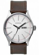 NEW Nixon Herrenuhr A105-1113 Sentry Leather Silver Brown Leder Uhr