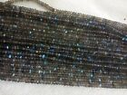"5 Strand Labradorite 4 - 4.5 MM MICRO Faceted Rondell Loose Beads 13"" Inc. AAA+"