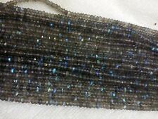 """10 Strand Labradorite 3.5-4MM MICRO Faceted Rondell Loose Beads 13"""" Inches AAA+"""