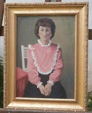 Gianna-Woman with Pink Ruffled Blouse Oil Painting-1983- August Mosca