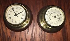 SHIP'S NAUTICAL TIME BRASS AND WOOD  PORTHOLE CLOCK & WEATHER GAUGE