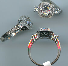 925 1.45 CARAT TW SIGNITY CZ ART DECO LOOK SOLITAIRE HALO ENGAGEMENT RING SIZE 8