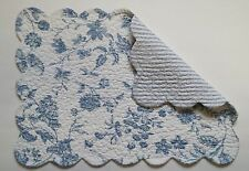 C&F BRIGHTON BLUE & White Toile Quilted Cotton Placemat, Ticking on Reverse