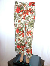 Michele Boyard Womens Vtg Designer Floral Linen Office Casual Trousers sz M AG99