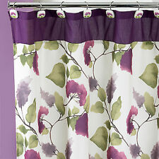 Popular Bath Jasmine Plum 70 x 72 Bathroom Fabric Shower Curtain & Hook Set