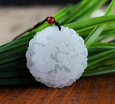 Chinese Jade Natural White Jade Carved Dragon Phoenix Pendants + Rope Necklace