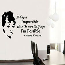 Audrey Hepburn Quote celebrity vinyl Wall Stickers Art Room Removable Decals DIY