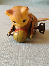 Vintage Occupied Japan Tin Wind Up Roll Over Cat with Ball
