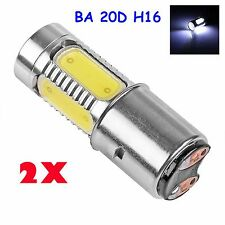 2x 7.5W H/L LED Motorcycle Headlamp COB BA20D Bulb Motorbike Headlight DC/AC 12V