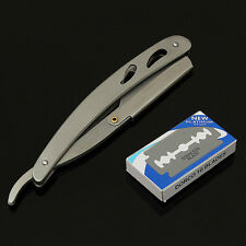 1x Straight Edge Stainless Steel Barber Razor Folding Shaving Knife + 10 Blades