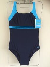 LADIES MARU IONA PACER SWIMSUIT - SIZE 10-12 NAVY BLUE/TURQUOISE **NEW**