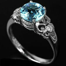 Sterling Silver 925 Genuine Natural Swiss Blue Topaz Ring Sz T  (US 9.75)
