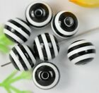 Wholesale 100pcs white and black charm round resin beads 10MM