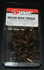 VMC 9650 Round Bend Treble Hooks Size 2/0 -  25 Pack 9650BZ-20 Bronze 1X Strong