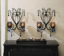 2 iron scroll BLACK crystal bead chandelier CANDELABRA wall Candle holder sconce