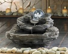 ROCK DESIGN TABLETOP INDOOR WATER FOUNTAIN CLEAR ORB PUMP NEW nib