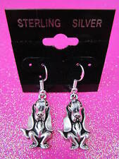 925 Sterling Silver Basset Hound Dog Dangle Earrings