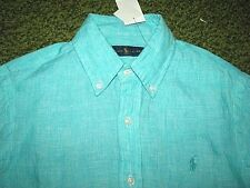 "Men's $125. (M) POLO-RALPH LAUREN ""Seafoam Green"" Linen Shirt"