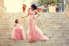 New Blush Pink Lace Mother Daughter Family Matching Dress Ruffle Prom Party Gown