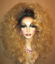 Drag Queen Wig Costume Lace Front Dark Rooted to Light Blonde Curly