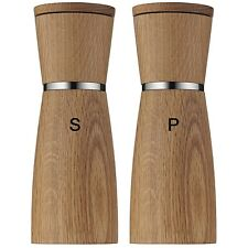 "WMF Ceramill Nature Salt and Pepper Grinder Mill Set of 2, Oak Wood 7"" Tall"