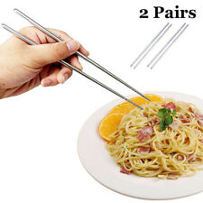 2 Pairs Fashion Non-slip Stainless Steel Chopsticks Chop Sticks Silver