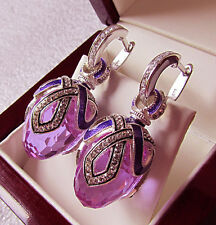 SALE ! GORGEOUS RUSSIAN EARRINGS handmade of STERLING SILVER 925 ENAMEL AMETHYST