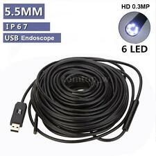 Waterproof 20m Cable 6 LED Lights Industry Endoscope USB Inspection Camera Tool