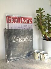 Zinc Metal Magazine Holder Newspaper Post Basket Vintage Shabby Storage Rack