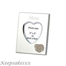 Heart Photo Frame with PUG DOG Sterling Silver & personalised engraving