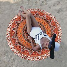 Indian Star Orange Mandala Round Tapestry Beach Yoga Mat Boho Table Cloths