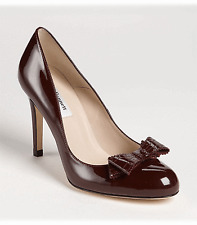L.K. Bennett 'DARCIA Brown Pump Patent Leather Brogued Bow Shoe 40- 9.5 NEW
