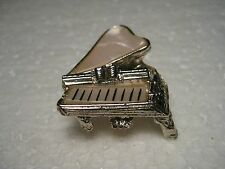 Vintage Goldtone Baby Grand Piano Brooch with Faux MOP Thermoset Accents  3D