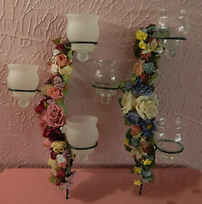 Lot 2 Wall Candle Sconces Flowers Pink Blue Clear Frosted Tealight Votive Holder