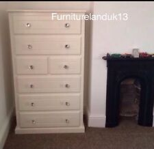 HANDMADE IVORY 2+5 DRAW CHEST WITH CRYSTAL HANDLES+DEEP BOXES (NO FLATPACKS)